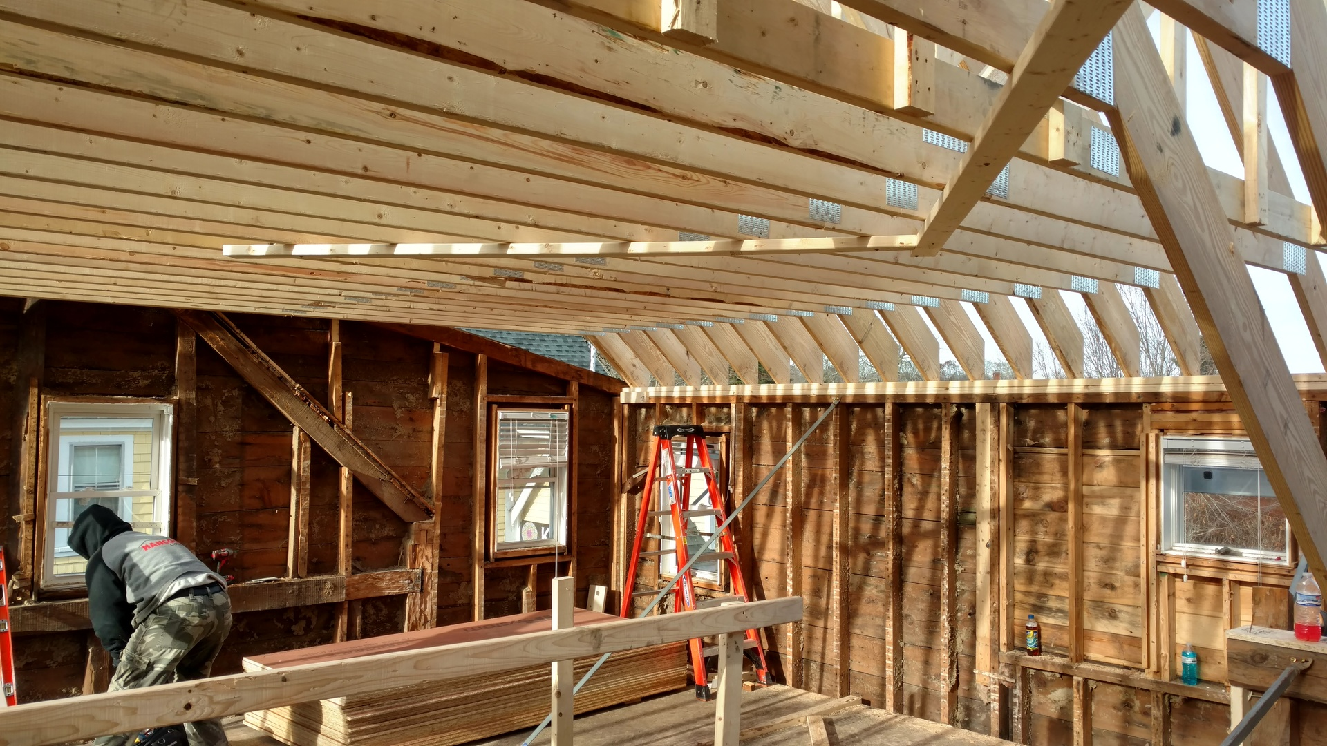 Framing Roof of House in Kennebunkport Maine by Construction Company